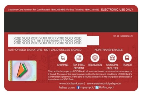SuratMoney Card - Back View